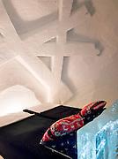 A bedroom inside an Ice Hotel in Kirkenes, a town in the Finnmark region of northern Norway