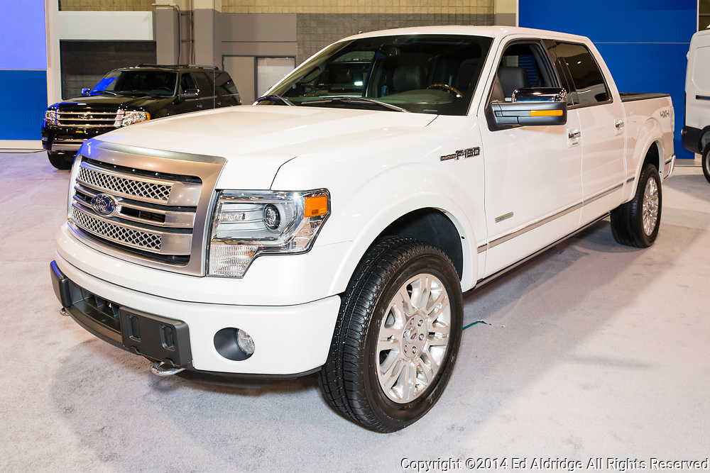 CHARLOTTE, NORTH CAROLINA - NOVEMBER 20, 2014: Ford F150 pickup truck on display during the 2014 Charlotte International Auto Show at the Charlotte Convention Center.