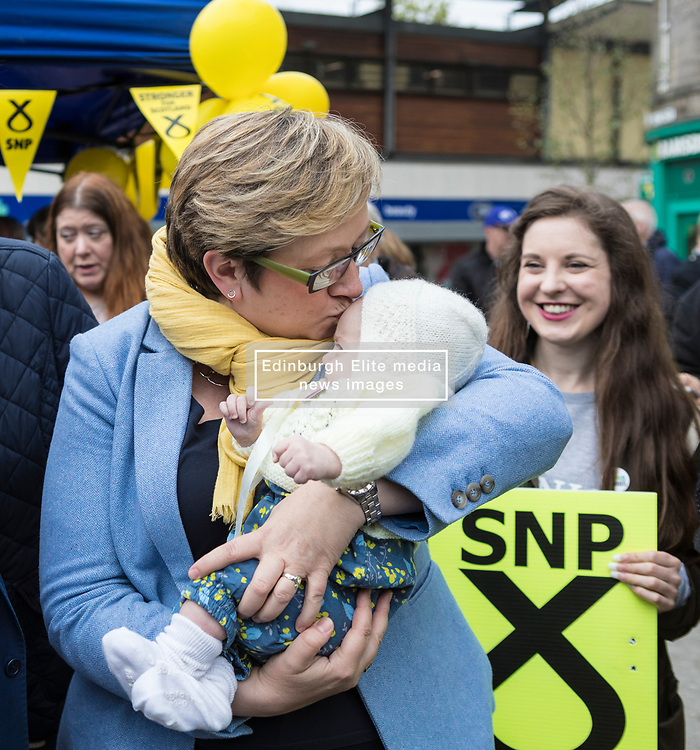 The First Minister, Nicola Sturgeon, campaigning in Leith by campaigning that the SNP will be a voice for young people.<br /> <br /> Pictured: Joanna Cherry with 11 week old Flora Tompson