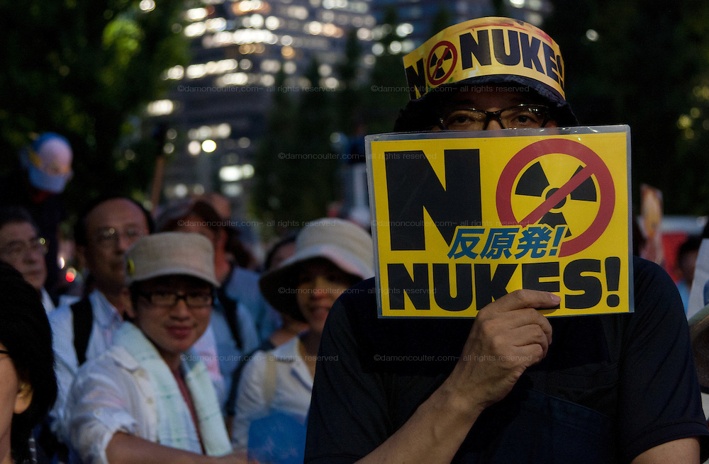 Protestors call for the abolition of nuclear power in the weekly Friday night protests outside the Prime Minister's office and national diet building in Tokyo, Japan.Friday September 7th 2012