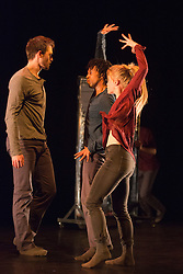 "© Licensed to London News Pictures. 17/12/2013. London, England. Picture: Adam Park, Miguel Altunaga and Hannah Rudd. Rambert Dance Company present an ""Evening of new choreography"" with five new works choreographed by members of the Company at the Lilian Baylis Studio, Sadler's Wells, London.  Piece: ""Entre tú y yo"", choregraphed by Estela Merlos with dancers: Miguel Altunaga; Adam Park; Hannah Rudd and Jon Savage. Photo credit: Bettina Strenske/LNP"