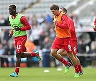 Steven Gerrard of Liverpool warms up along side Mario Balotelli of Liverpool - Barclays Premier League - Newcastle Utd vs Liverpool - St James' Park Stadium - Newcastle Upon Tyne - England - 1st November 2014  - Picture Simon Bellis/Sportimage
