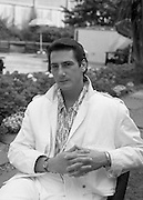 """Sade and Tony Hadley Interviews.  P92..1984.21.08.1984..08.21.1984..21st August 1984..As part of his interview sessions for """"Video File"""" for R.T.E., Marty Whelan interviewed international music stars. The interviews were held in the R.T.E.,studios and at various hotels throughout the city...Image shows Tony Hadley, lead singer with Spandau Ballet, during his interview with Marty Whelan for the show """"Video File' on R.T.E.,television."""