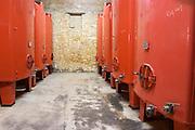 Domaine Peyre Rose, St Pargoire. Gres de Montpellier. Languedoc. Painted steel vats. France. Europe.