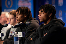 The LSU Tigers speak with the media on Tuesday, Dec. 24, in Atlanta. LSU will face Oklahoma in the 2019 College Football Playoff Semifinal at the Chick-fil-A Peach Bowl. (Paul Abell via Abell Images for the Chick-fil-A Peach Bowl)