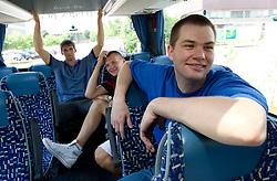 Gasper Vidmar, Jaka Klobucar and  Uros Slokar of Slovenia Basketball national team at departure to Rogla before World Championship in Turkey, on July 10, 2010 at KZS, Ljubljana, Slovenia. (Photo by Vid Ponikvar / Sportida)