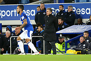 Leicester City Manager Claude Puel looks on from his technical area.. Premier league match, Everton v Leicester City at Goodison Park in Liverpool, Merseyside on Wednesday 31st January 2018.<br /> pic by Chris Stading, Andrew Orchard sports photography.