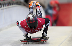 Canada's Elisabeth Vathje during Womens Skeleton practice on day three of the PyeongChang 2018 Winter Olympic Games in South Korea.