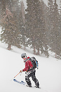 Backcountry skier Jeff Wanner standing in heavy snowfall, San Juan Mountains, Colorado.