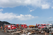 Fire engines and other rescue vehicles gathered after the tsunami that struck the north east coast of Japan on March 11th in Otsuchi, Iwate, Japan. March 17th 2011