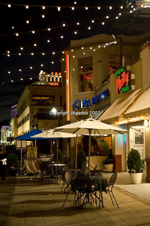 Boardwalk Outside tables at night. Atlantic City, New Jersey