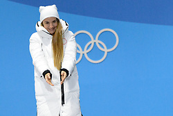 February 14, 2018 - Pyeongchang, South Korea - YULIA BELORUKOVA of Russia celebrates getting the bronza medal in the Woman's Sprint Classic cross country skiing event in the PyeongChang Olympic games. (Credit Image: © Christopher Levy via ZUMA Wire)
