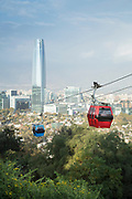 Cable cars on San Cristobal Hill in Santiago, Chile