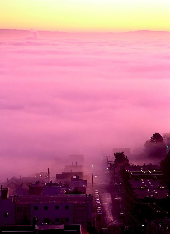 Dawn fog over Noe Valley, San Francisco, California