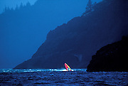 Image of a windsurfer in the Columbia River Gorge, Washington, Pacific Northwest by Randy Wells