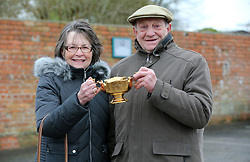 Garth and Anne Broom, owners of Native River with the Gold Cup during a photocall at Virginia Ash, Templecombe.