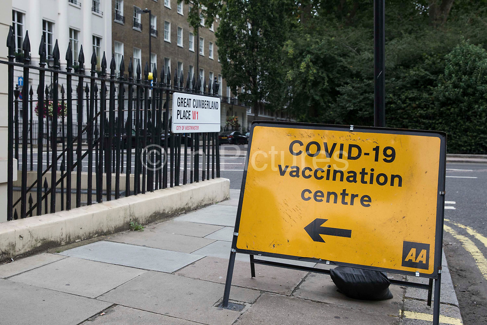 A sign indicating the location of a Covid-19 vaccination centre is pictured on 4th September 2021 in London, United Kingdom. According to the Department of Health, four in five people aged 16 or over in the UK have now had both doses of a Covid-19 vaccine.