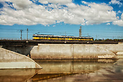 Los Angeles Metro Rail along Los Angeles River, Long Beach, California, USA