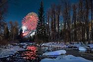Fireworks on Aspen Mountain in Aspen, Colorado, during the 2015 Winterskol festivities.