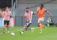 Exeter City's Luke Croll under pressure from Blackpool's Joe Dodoo<br /> <br /> Photographer Kevin Barnes/CameraSport<br /> <br /> Emirates FA Cup First Round - Exeter City v Blackpool - Saturday 10th November 2018 - St James Park - Exeter<br />  <br /> World Copyright © 2018 CameraSport. All rights reserved. 43 Linden Ave. Countesthorpe. Leicester. England. LE8 5PG - Tel: +44 (0) 116 277 4147 - admin@camerasport.com - www.camerasport.com