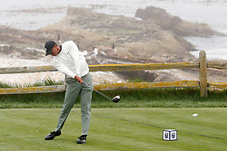 June 12, 2019 - Pebble Beach, CA, U.S. - PEBBLE BEACH, CA - JUNE 12: PGA golfer Tiger Woods tees off on the 18th hole during a practice round for the 2019 US Open on June 12, 2019, at Pebble Beach Golf Links in Pebble Beach, CA. (Photo by Brian Spurlock/Icon Sportswire) (Credit Image: © Brian Spurlock/Icon SMI via ZUMA Press)
