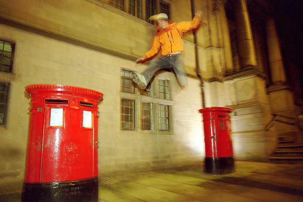Danny Brown Jumps between two posts boxes in Sheffield City Centre.