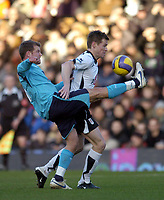 Photo: Olly Greenwood.<br />Fulham v Tottenham Hotspur. The Barclays Premiership. 20/01/2007. Tottenham's Teemu Tainio and Fulham's Brain McBride