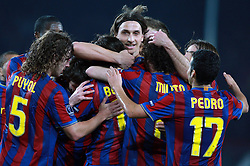 17-03-2010 VOETBAL: BARCELONA - VFB STUTTGART: BARCELONA<br /> Zlatan Ibrahimovic celebrates with Carles Puyol, Pedro Rodriguez and other players<br /> ©2010- FRH-nph / Tati Quinones