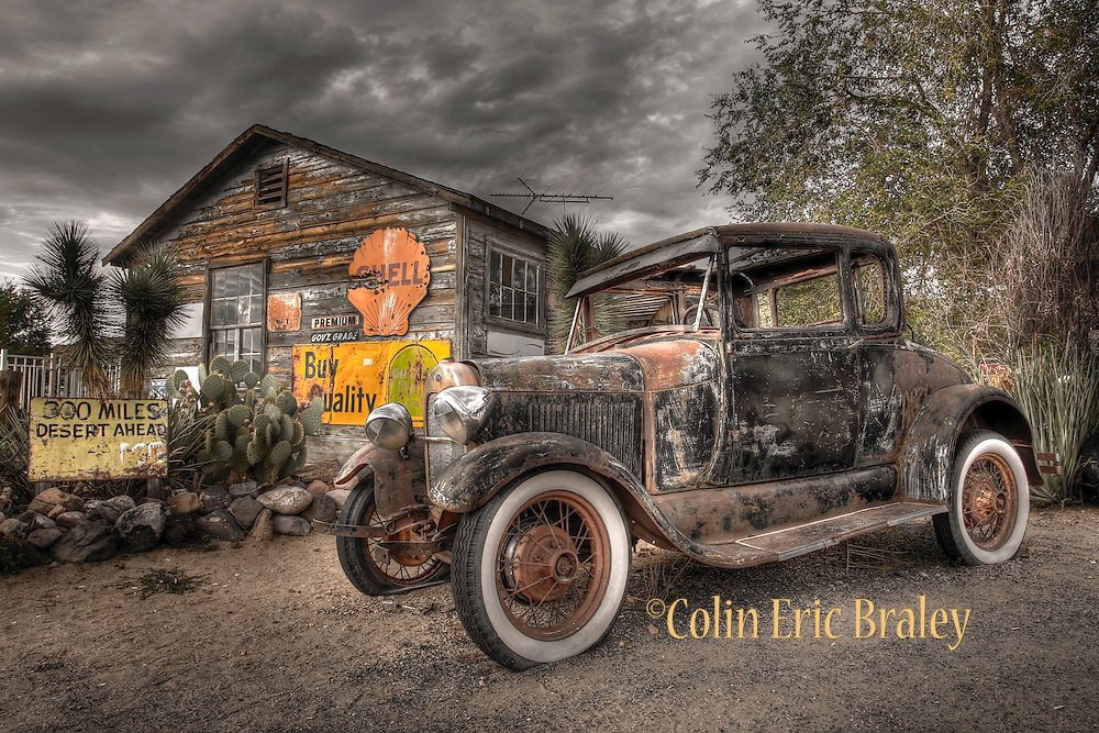 ROUTE 66-ARIZONA- An old, weathered 1928 vintage Model A Ford is parked at the Hackberry General Store in Arizona. Of the eight states the Mother Road travels through, the Grand Canyon State claims the most original sections of the road still designated as Route 66. Photo by Colin E Braley