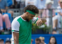 Tennis - 2017 Aegon Championships [Queen's Club Championship] - Day Three, Wednesday<br /> <br /> Men's Singles, Round of 16 - Gilles Muller (LUX) vs Jo-Wilfred Tsonga (Fra)<br /> <br /> Jo-Wilfried Tsonga (FRA) feels the heat on centre court at Queens Club<br /> <br /> COLORSPORT/DANIEL BEARHAM