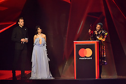 EDITORIAL USE ONLY.<br /><br />Kendrick Lamar accepts the award for Best International Male on stage at the Brit Awards at the O2 Arena, London.