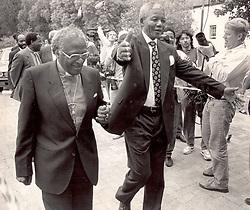Nelson Mandela with Archbishop Desmond Tutu, Cape Town in 1990.