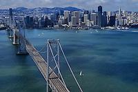 San Francisco-Oakland Bay Bridge with San Francisco Skyline (aerial)