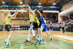 Maja Erkic of Athlete Celje and Alma Potocnik of Athlete Celje vs Ela Micunovic of Triglav during basketball match between ZKK Athlete Celje and ZKK Triglav in Finals of 1. SKL for Women 2014/15, on April 20, 2015 in Gimnazija Celje Center, Celje, Slovenia. Photo by Vid Ponikvar / Sportida