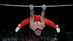 England's James Hall on the Horizontal Bar on his way to getting a silver medal in the Men's Individual All-Round Final with coach Ben Collie at the Coomera Indoor Sports Centre during day three of the 2018 Commonwealth Games in the Gold Coast, Australia.