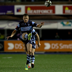 Gareth Anscombe of Cardiff Blues kicks to the corner<br /> <br /> Photographer Simon King/Replay Images<br /> <br /> Guinness PRO14 Round 4 - Cardiff Blues v Munster - Friday 21st September 2018 - Cardiff Arms Park - Cardiff<br /> <br /> World Copyright © Replay Images . All rights reserved. info@replayimages.co.uk - http://replayimages.co.uk