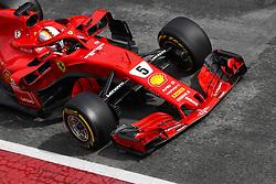 March 1, 2018 - Barcelona, Catalonia, Spain - Sebastian Vettel of Team Scuderia Ferrari, Ferrari SF71H in to the pit lane Circuit de Catalunya, Barcelona, Spain; Formula One Grand Prix Testing. (Credit Image: © Eric Alonso via ZUMA Wire)