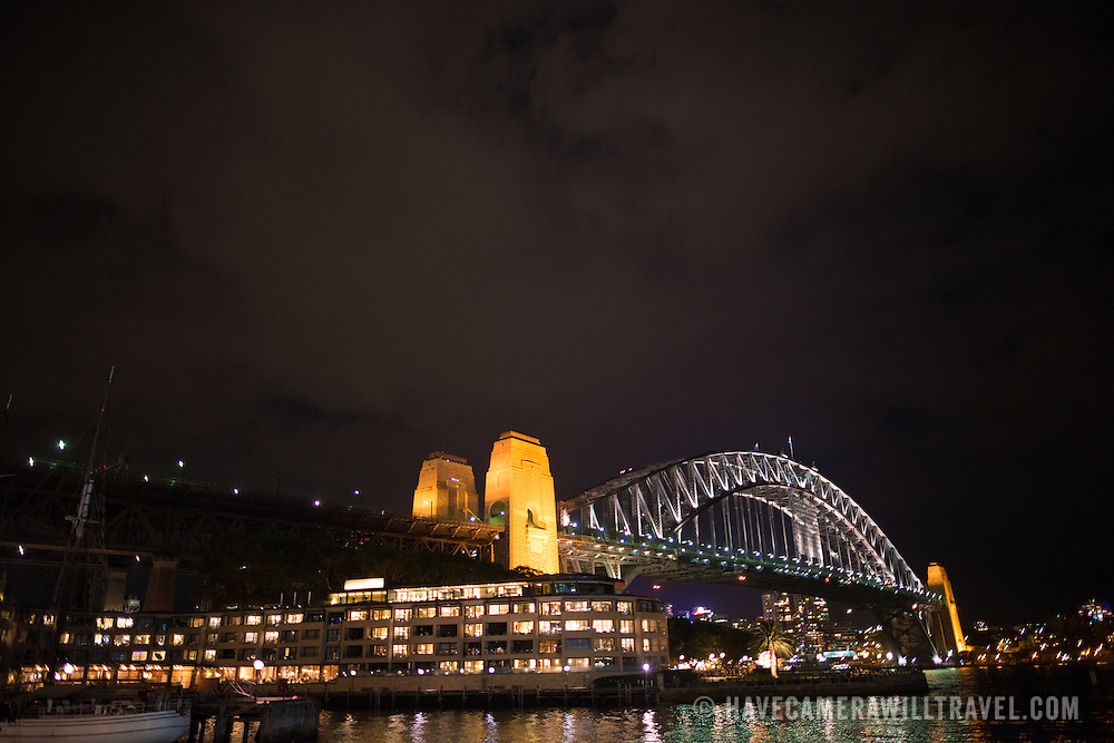 The Sydney Harbour Bridge at night, as seen from Circular Quay. Copyspace in the sky.