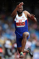 Julian Reid competing in the Men's Triple Jump Final. The British Championships 2016, athletics event at the Alexander Stadium in Birmingham, Midlands  on Saturday 25th June 2016.<br /> pic by John Patrick Fletcher, Andrew Orchard sports photography.
