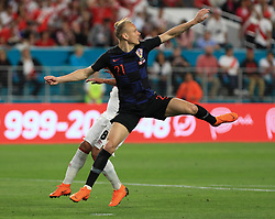 March 23, 2018 - Miami Gardens, Florida, USA - Croatia defender Domagoj Vida (21) in action during a FIFA World Cup 2018 preparation match between the Peru National Soccer Team and the Croatia National Soccer Team at the Hard Rock Stadium in Miami Gardens, Florida. (Credit Image: © Mario Houben via ZUMA Wire)