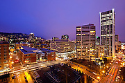 City Night Skyline View Of Portland Oregon