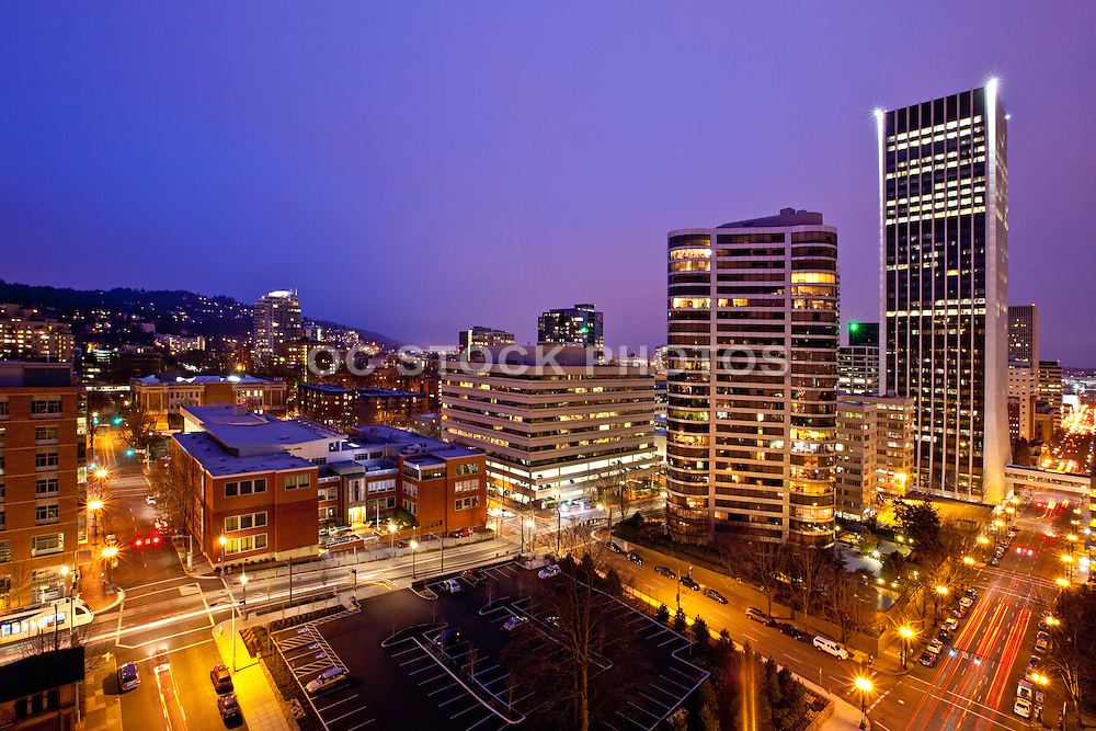 City Night Skyline View Of Portland Oregon