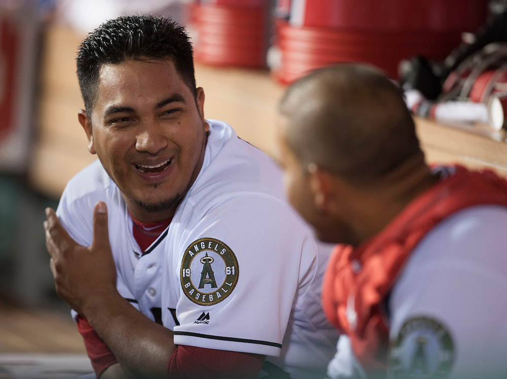 The Angels' Jhoulys Chacin chats with catcher Carlos Perez during the Angels' 5-1 victory over the Detroit Tigers Monday at Angel Stadium.<br /> <br /> <br /> ///ADDITIONAL INFO:   <br /> <br /> angels.0531.kjs  ---  Photo by KEVIN SULLIVAN / Orange County Register  -- 5/30/16<br /> <br /> The Los Angeles Angels take on the Detroit Tigers Monday at Angel Stadium.