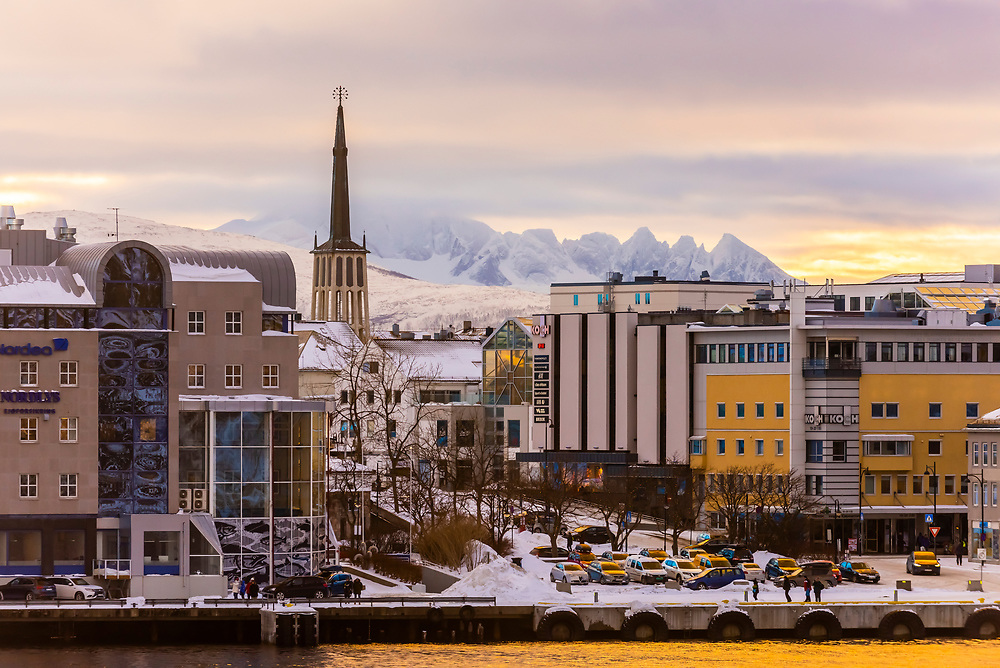 Buildings in the center along the waterfront, Bodo, Arctic, Northern Norway.