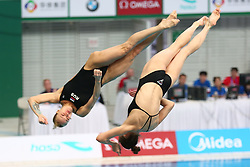 March 9, 2018 - Beijing, Beijing, China - Chinese divers WANG HAN and CHEN YIWEN win the gold medal of women's 3m springboard at FINA Diving World Series in Beijing. (Credit Image: © SIPA Asia via ZUMA Wire)