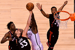 February 11, 2019 - Toronto, Ontario, Canada - Marc Gazol  #33 of the Toronto Raptors  blocks the ball near the basket during the Toronto Raptors vs Brooklyn Nets NBA regular season game at Scotiabank Arena on February 11, 2019, in Toronto, Canada (Toronto Raptors win 127-125) (Credit Image: © Anatoliy Cherkasov/NurPhoto via ZUMA Press)