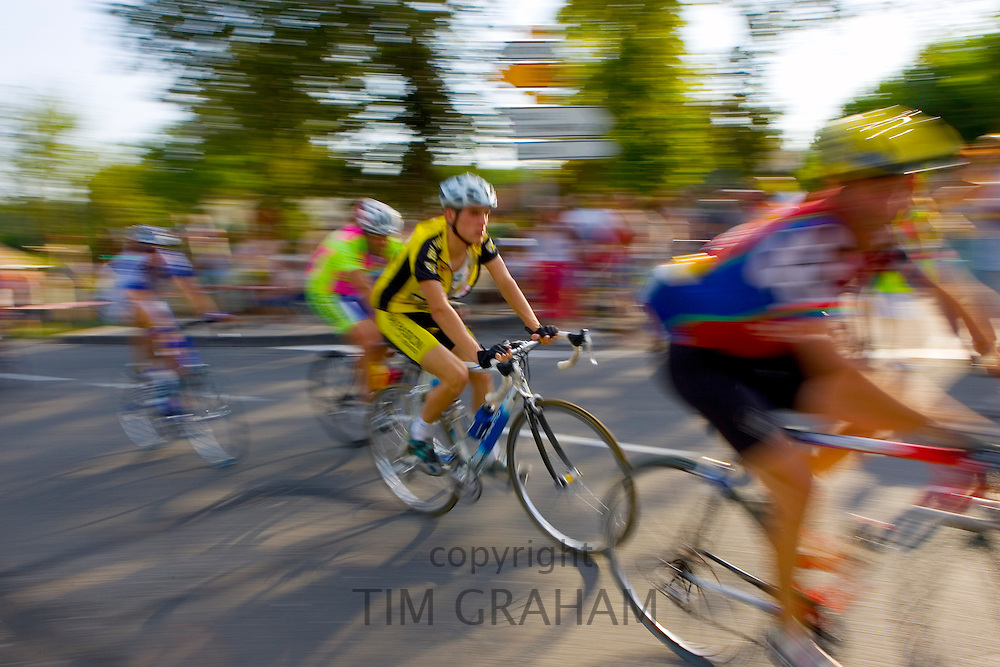 Cyclists take part in Le Prix De La Ville De Lucmau in France