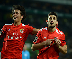 LISBON, Feb. 4, 2019  Pizzi Fernandes (R) of Benfica vies celebrates scoring with teammate Jaoa Felix during the Portuguese League soccer match between SL Benfica and Sporting CP in Lisbon, Portugal, Feb. 3, 2019. Benfica won 4-2. (Credit Image: © Xinhua via ZUMA Wire)