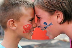 10/03/2018 Brother and sister JD (7) and Alicia (11) Vermeulen from Nigel nose to nose showing off the Lion's stamps on their faces. Gauteng Lions vs the Auckland Blues at Emirates Airlines Park, Ellis Park, Johannesburg, South Africa. Picture: Karen Sandison/African News Agency (ANA)