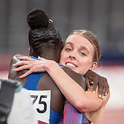 TOKYO, JAPAN August 3:  Gold medal winner Athing Mu of the United States and silver medal winner Keely Hodgkinson of Great Britain embrace after the Women's 800m Final at the Olympic Stadium during the Tokyo 2020 Summer Olympic Games on August 3rd, 2021 in Tokyo, Japan. (Photo by Tim Clayton/Corbis via Getty Images)